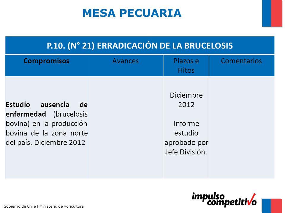 P.10. (N° 21) ERRADICACIÓN DE LA BRUCELOSIS