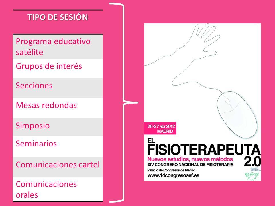 TIPO DE SESIÓNPrograma educativo satélite. Grupos de interés. Secciones. Mesas redondas. Simposio. Seminarios.