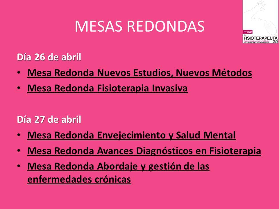MESAS REDONDAS Día 26 de abril