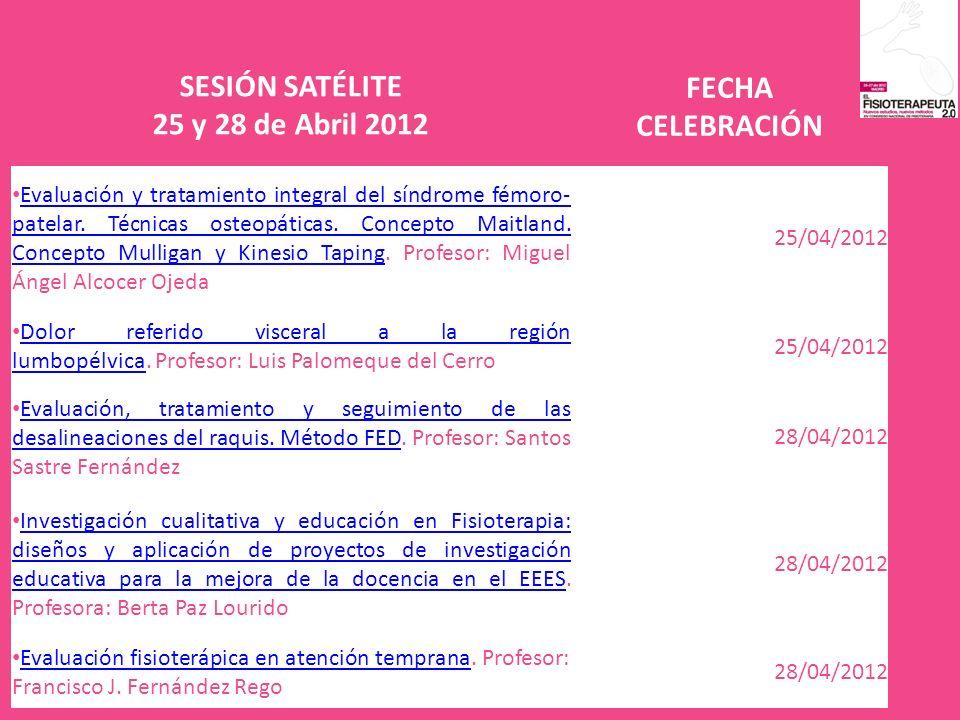 SESIÓN SATÉLITE 25 y 28 de Abril 2012 FECHA CELEBRACIÓN