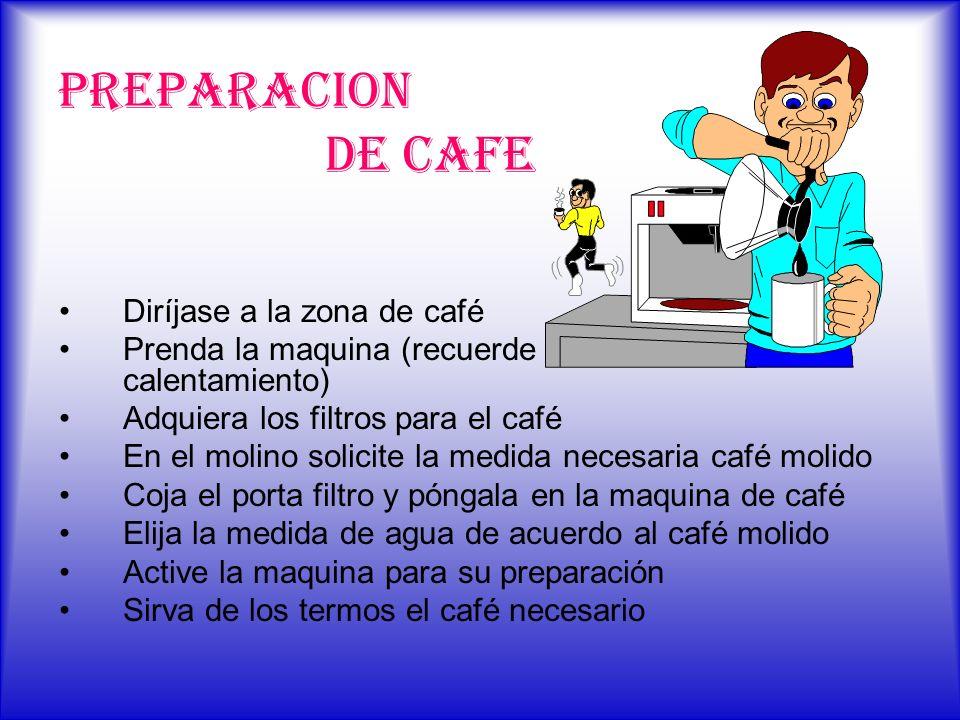 PREPARACION DE CAFE Diríjase a la zona de café