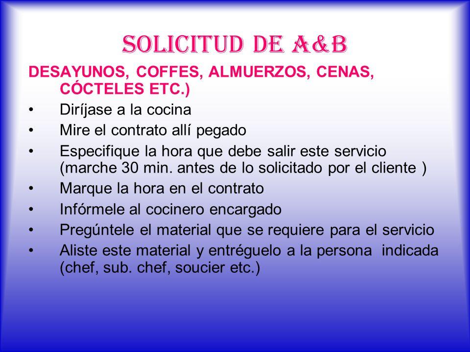 SOLICITUD DE A&B DESAYUNOS, COFFES, ALMUERZOS, CENAS, CÓCTELES ETC.)