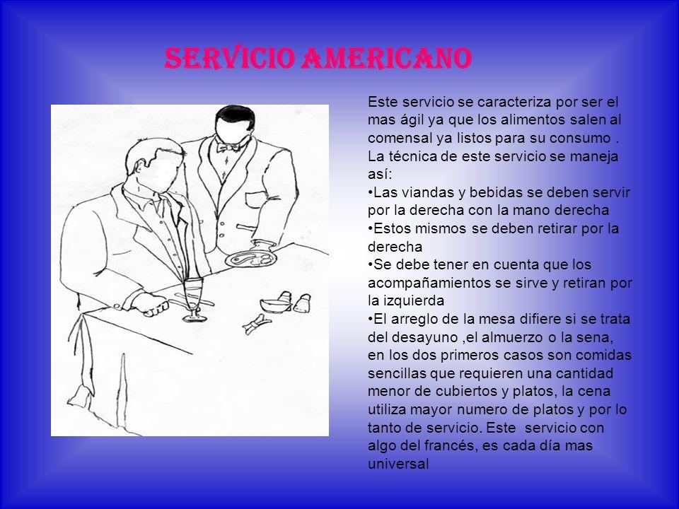 SERVICIO AMERICANO Este servicio se caracteriza por ser el mas ágil ya que los alimentos salen al comensal ya listos para su consumo .