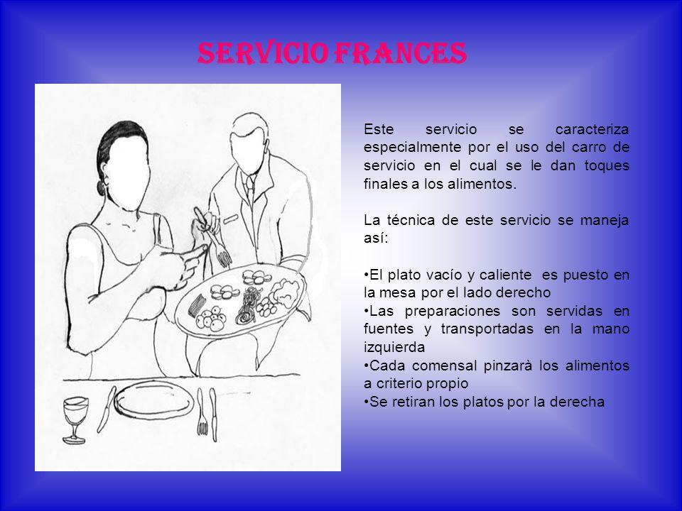 SERVICIO FRANCES Este servicio se caracteriza especialmente por el uso del carro de servicio en el cual se le dan toques finales a los alimentos.