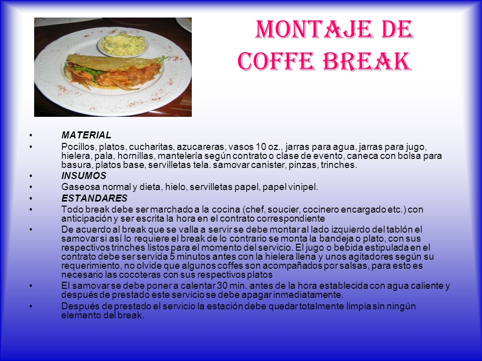 MONTAJE DE COFFE BREAK MATERIAL