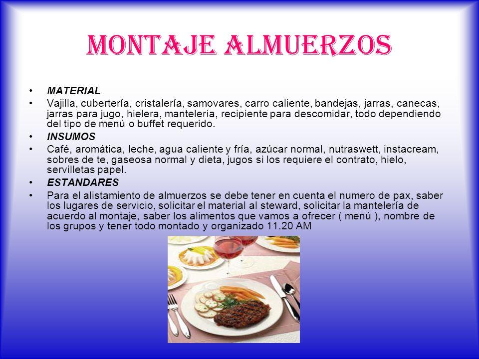 MONTAJE ALMUERZOS MATERIAL