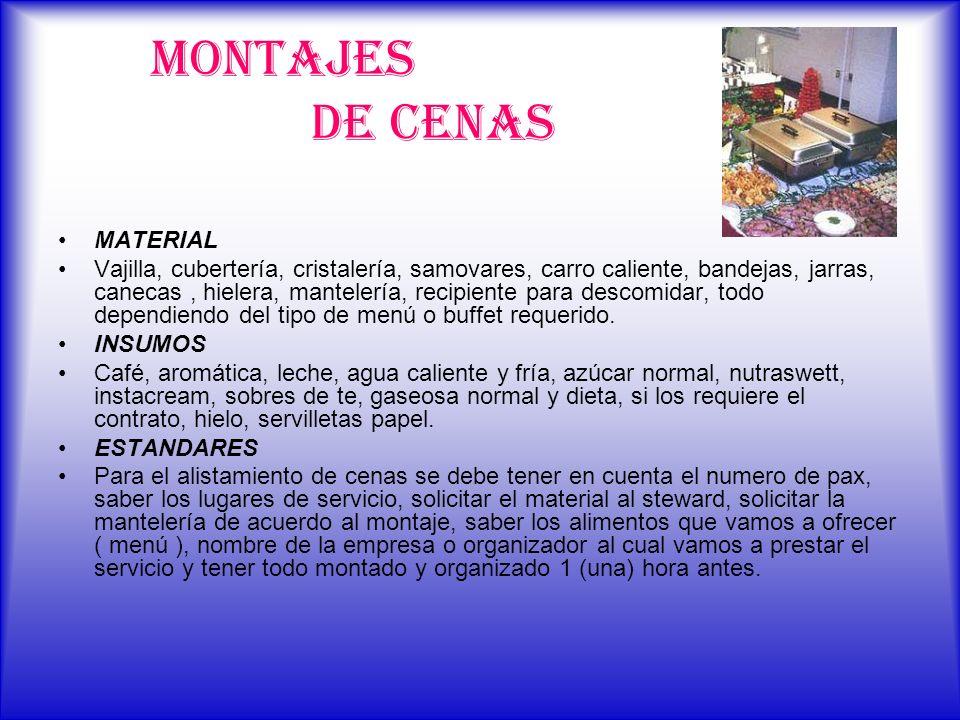 MONTAJES DE CENAS MATERIAL