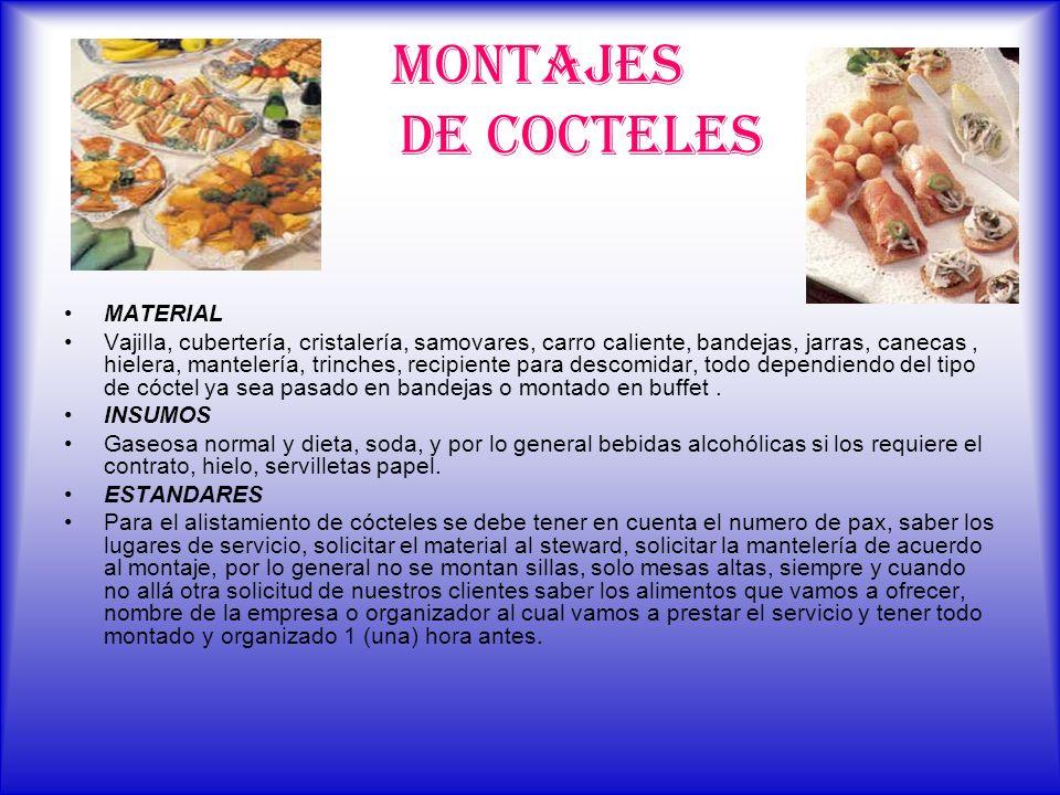 MONTAJES DE COCTELES MATERIAL