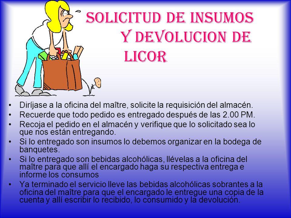 SOLICITUD DE INSUMOS Y DEVOLUCION DE LICOR