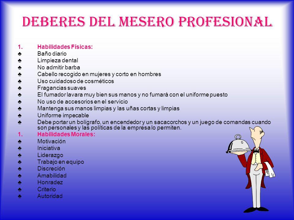 DEBERES DEL MESERO PROFESIONAL