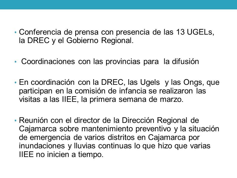 Conferencia de prensa con presencia de las 13 UGELs, la DREC y el Gobierno Regional.