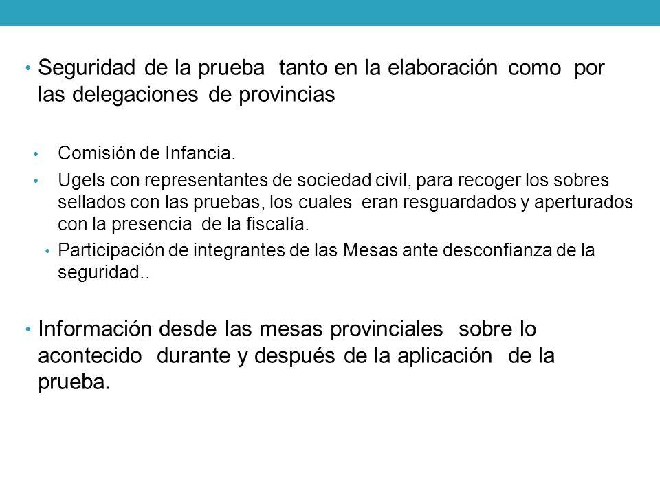 Seguridad de la prueba tanto en la elaboración como por las delegaciones de provincias