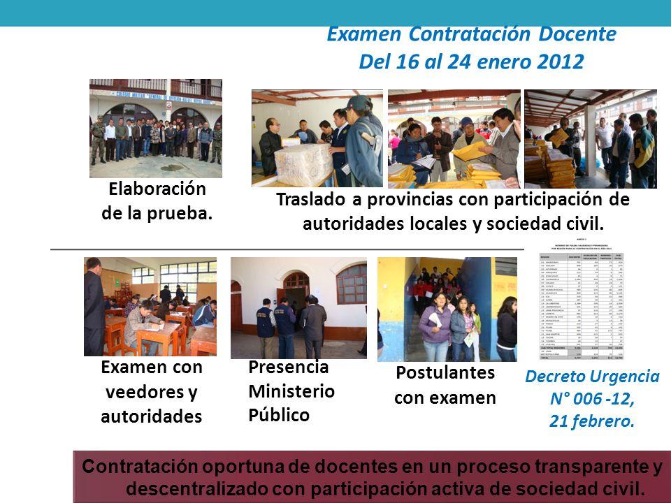 Examen Contratación Docente Del 16 al 24 enero 2012