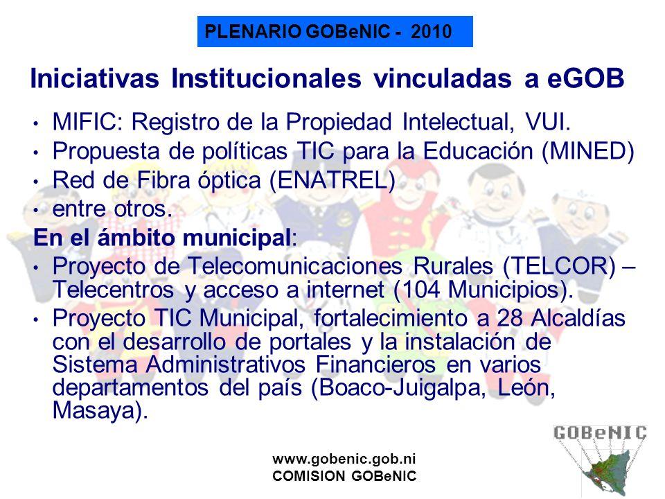 Iniciativas Institucionales vinculadas a eGOB