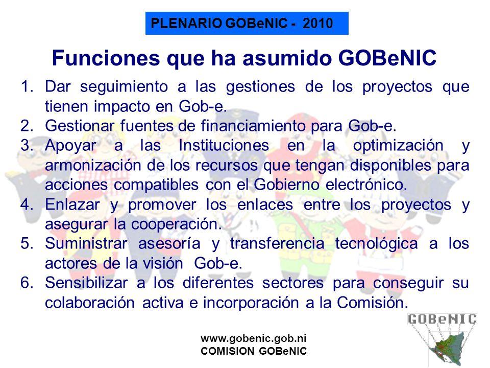 Funciones que ha asumido GOBeNIC