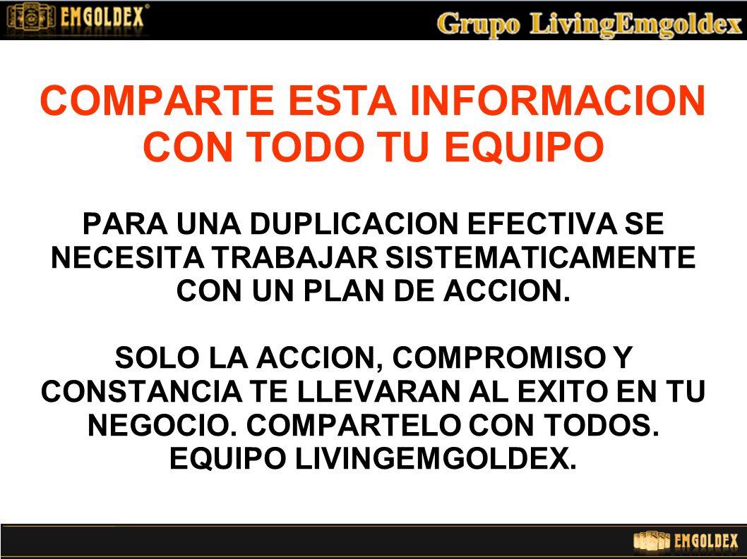 COMPARTE ESTA INFORMACION CON TODO TU EQUIPO