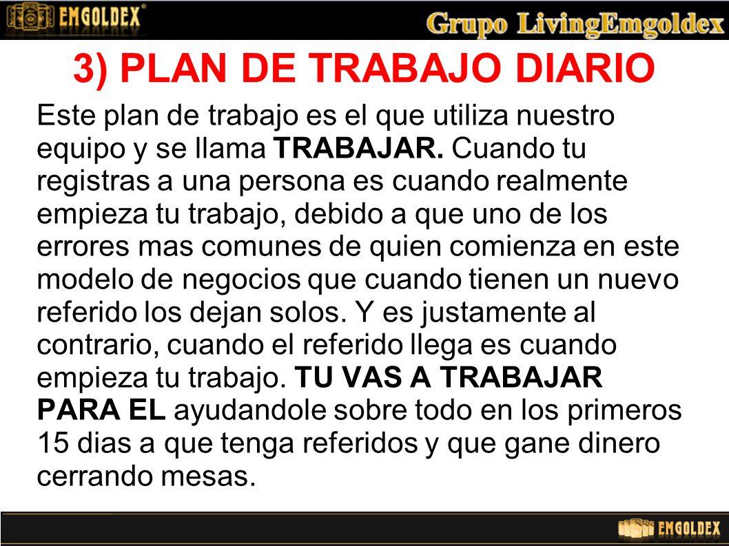 3) PLAN DE TRABAJO DIARIO