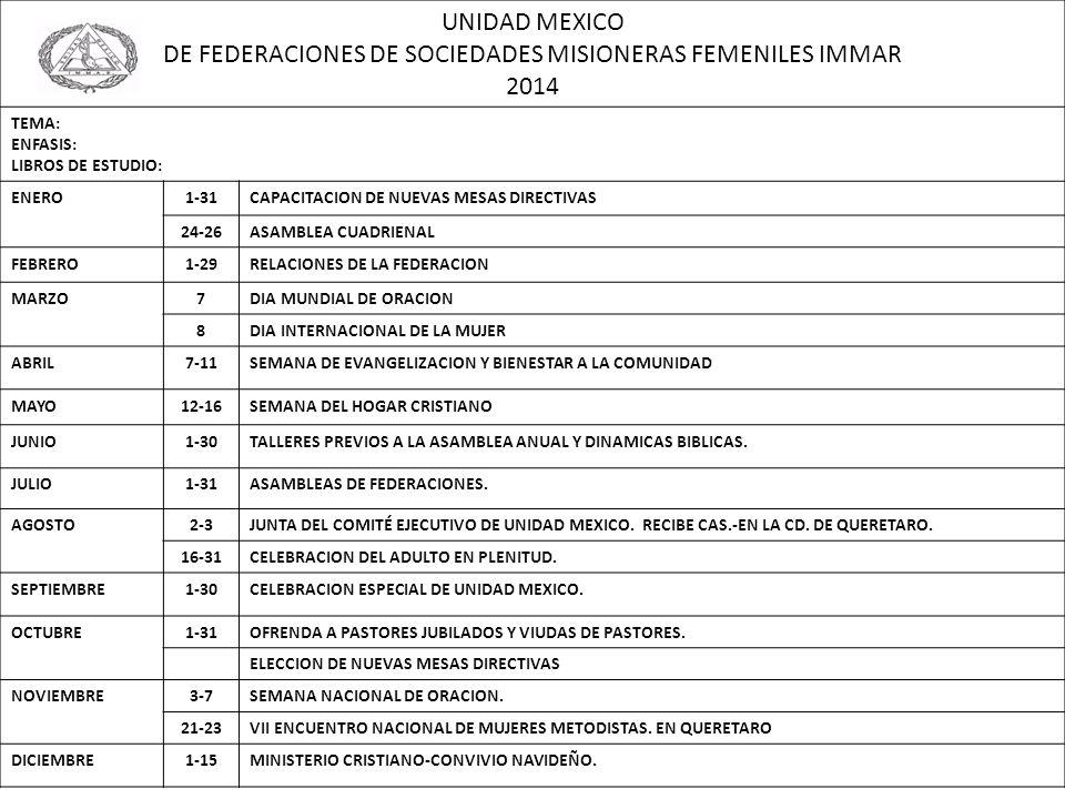 DE FEDERACIONES DE SOCIEDADES MISIONERAS FEMENILES IMMAR