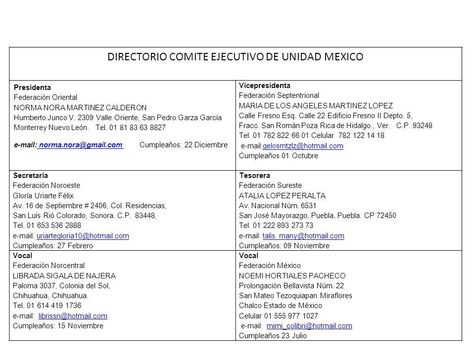 DIRECTORIO COMITE EJECUTIVO DE UNIDAD MEXICO