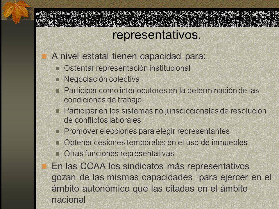 Competencias de los sindicatos más representativos.