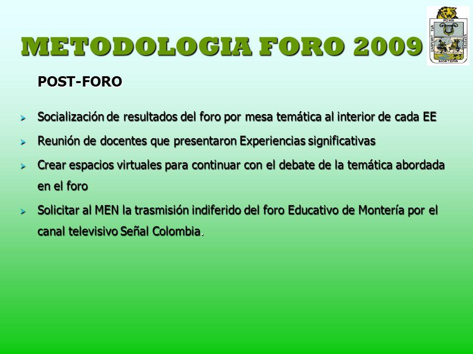 METODOLOGIA FORO 2009 POST-FORO