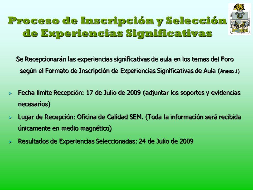 Proceso de Inscripción y Selección de Experiencias Significativas