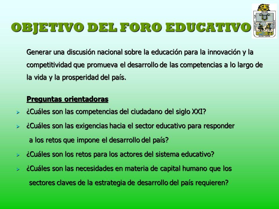 OBJETIVO DEL FORO EDUCATIVO