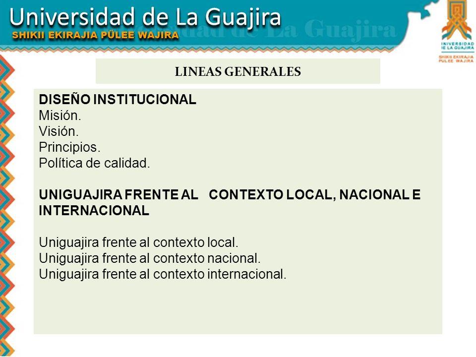 LINEAS GENERALES DISEÑO INSTITUCIONAL. Misión. Visión. Principios. Política de calidad.