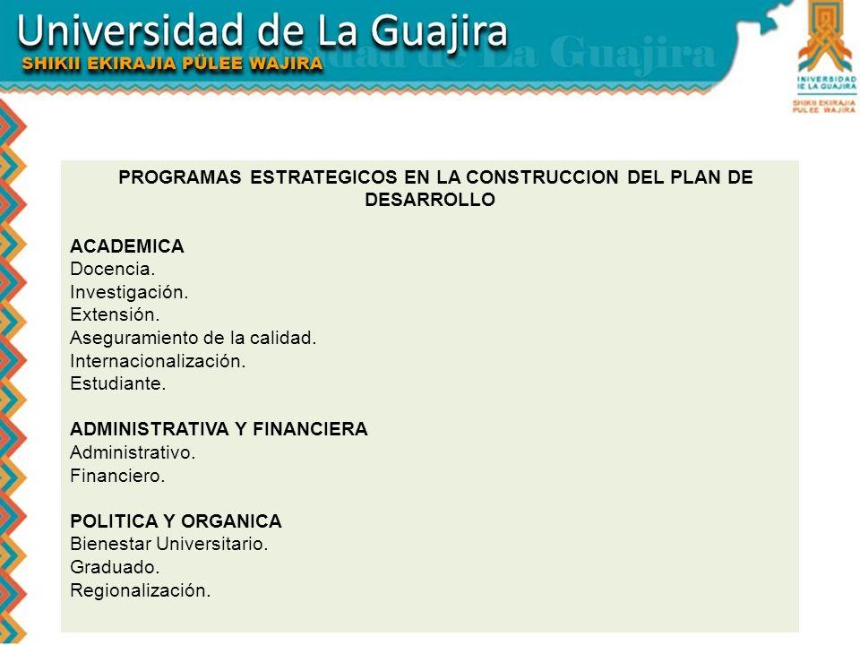 PROGRAMAS ESTRATEGICOS EN LA CONSTRUCCION DEL PLAN DE DESARROLLO