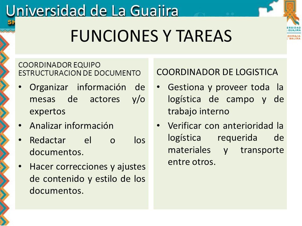 FUNCIONES Y TAREAS COORDINADOR DE LOGISTICA