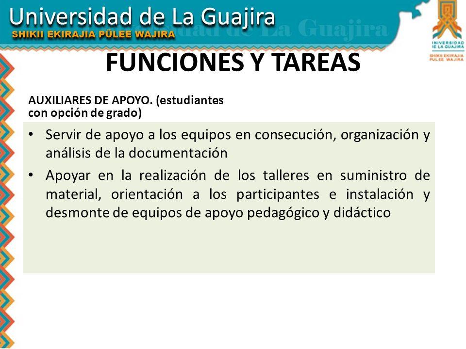 FUNCIONES Y TAREAS AUXILIARES DE APOYO. (estudiantes con opción de grado)