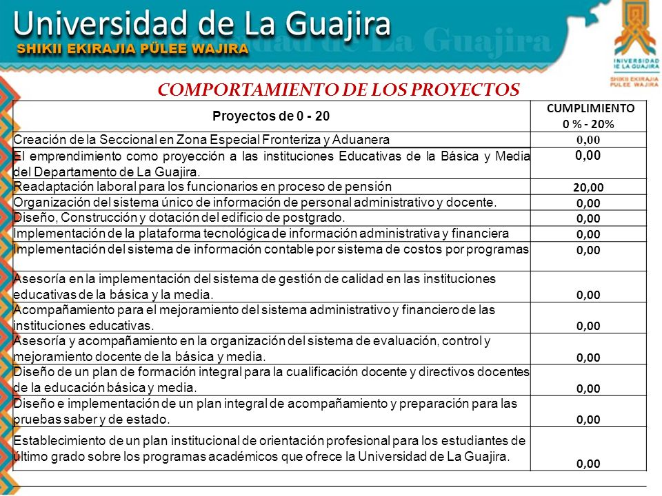 COMPORTAMIENTO DE LOS PROYECTOS