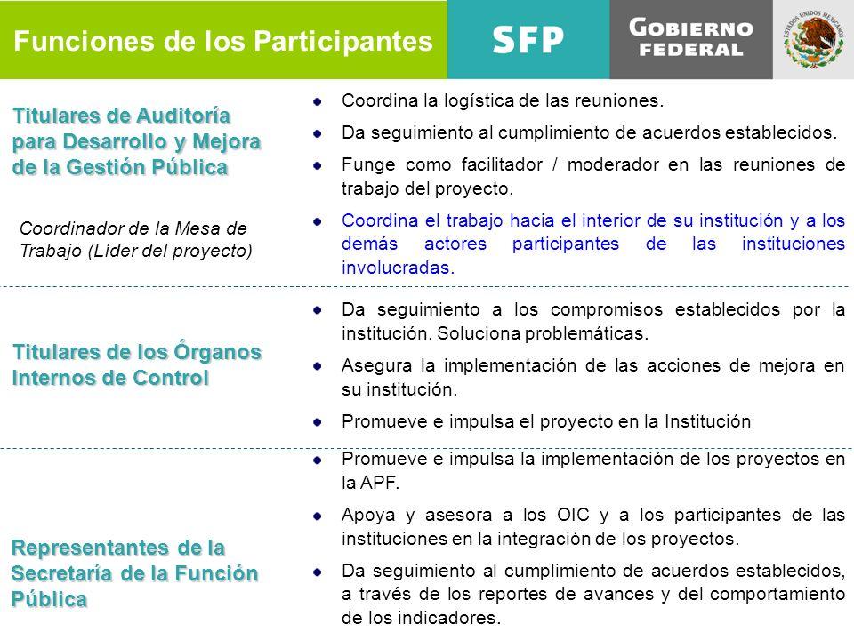 Funciones de los Participantes