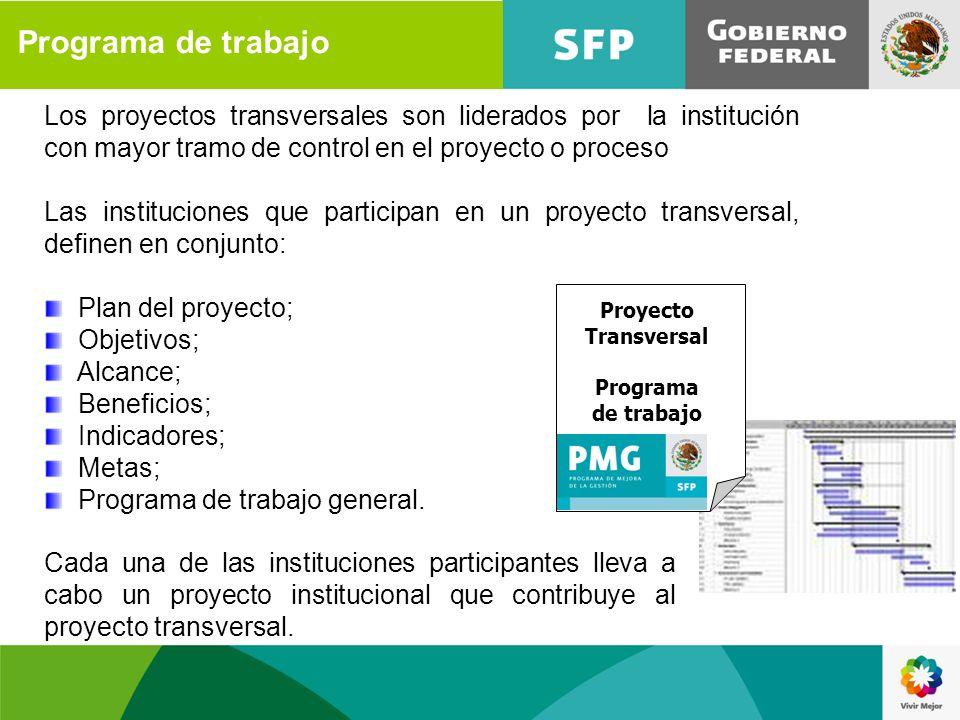 Programa de trabajo Los proyectos transversales son liderados por la institución con mayor tramo de control en el proyecto o proceso.