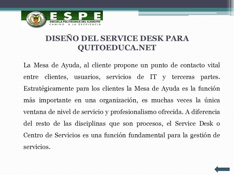 DISEÑO DEL SERVICE DESK PARA QUITOEDUCA.NET