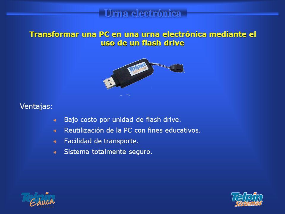 Urna electrónica Transformar una PC en una urna electrónica mediante el uso de un flash drive. Ventajas: