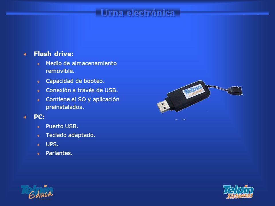 Urna electrónica Flash drive: PC: Medio de almacenamiento removible.