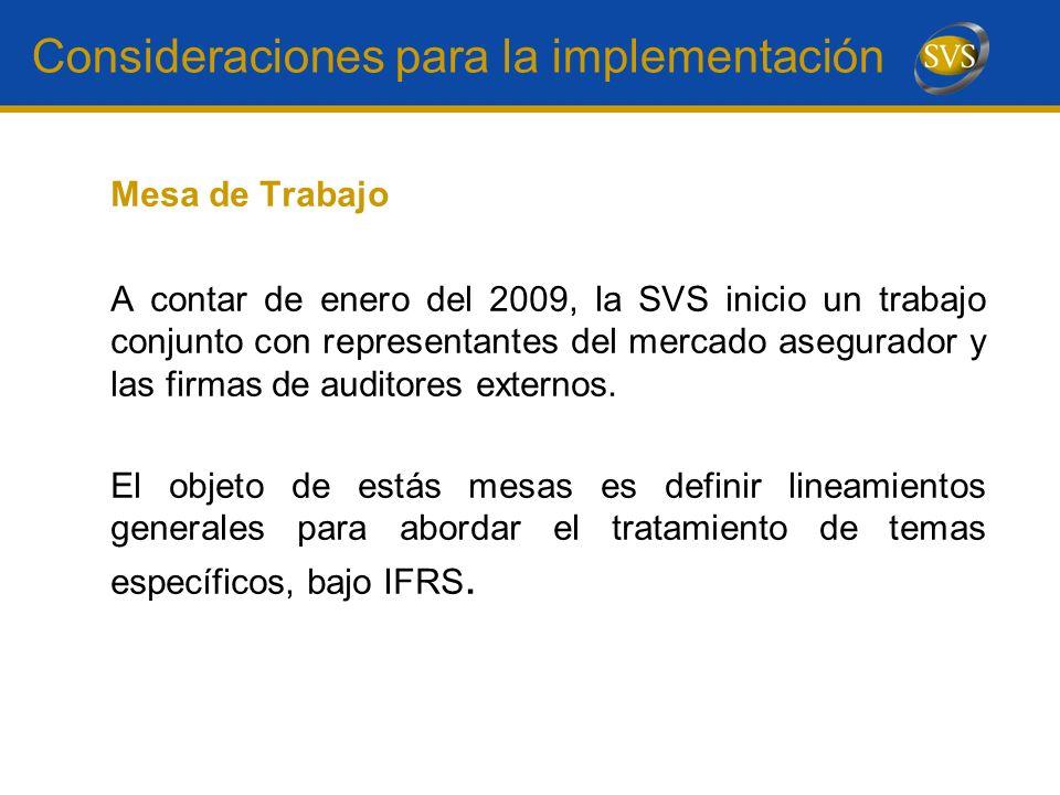 Consideraciones para la implementación