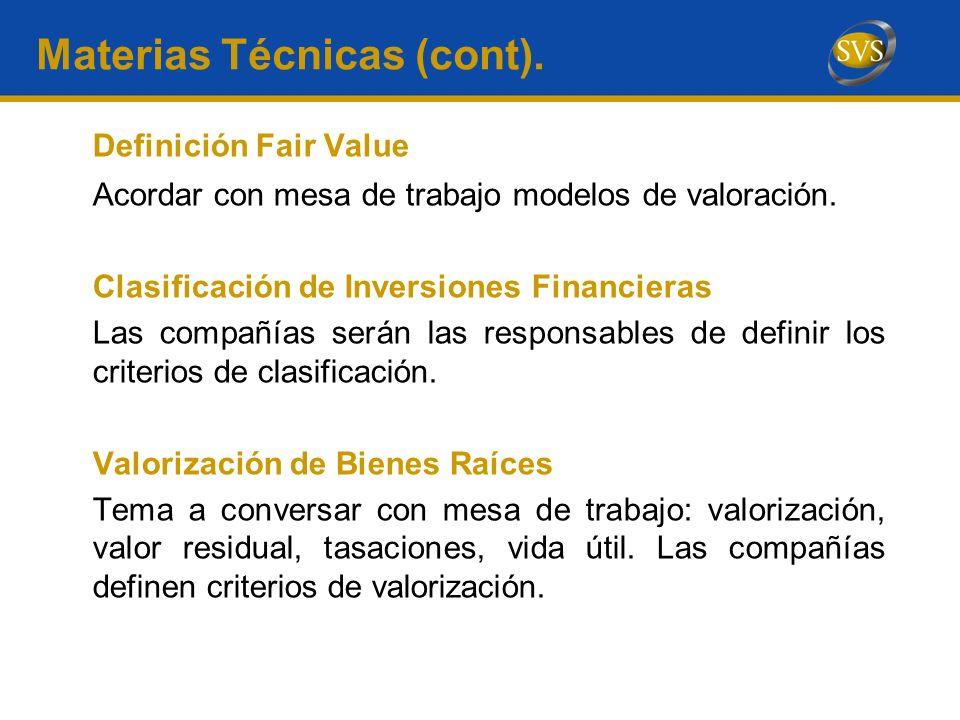 Materias Técnicas (cont).