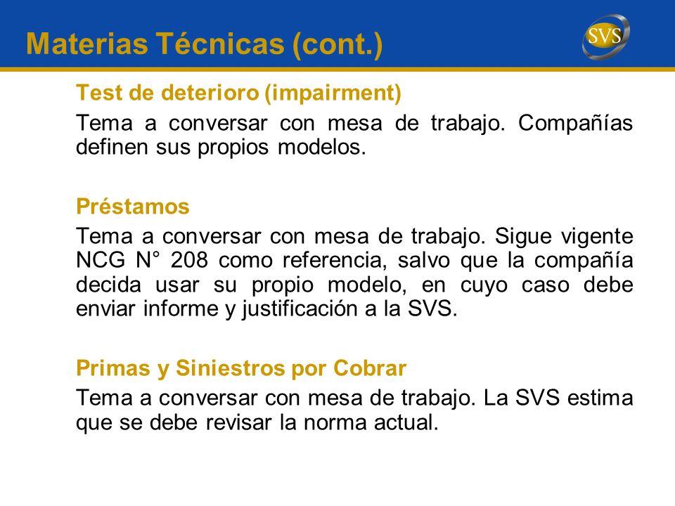 Materias Técnicas (cont.)