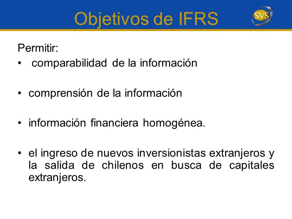 Objetivos de IFRS Permitir: comparabilidad de la información