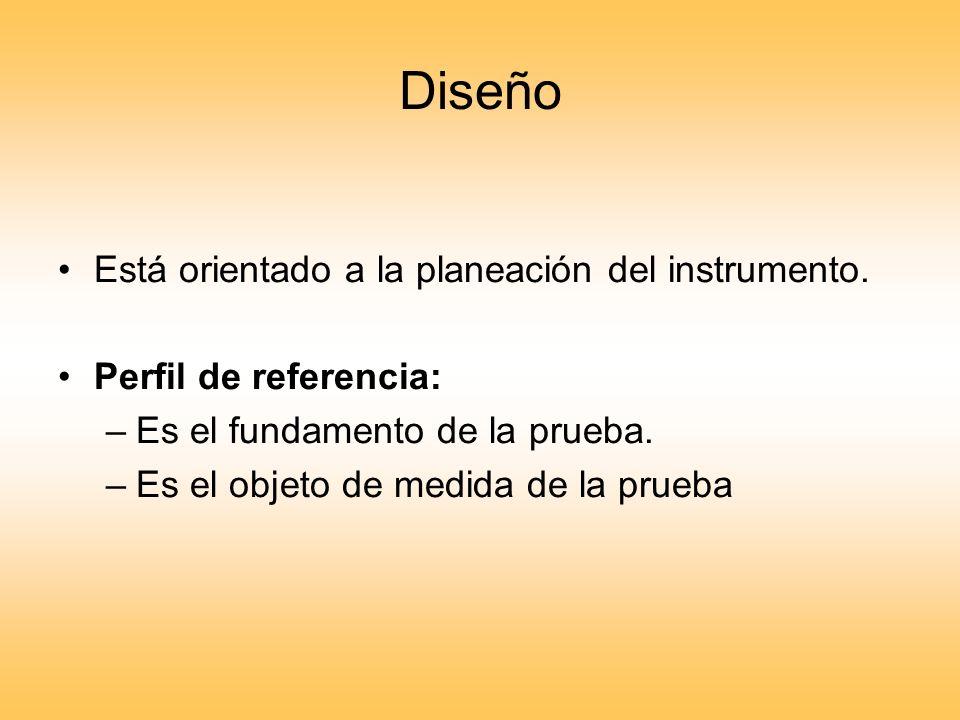 Diseño Está orientado a la planeación del instrumento.
