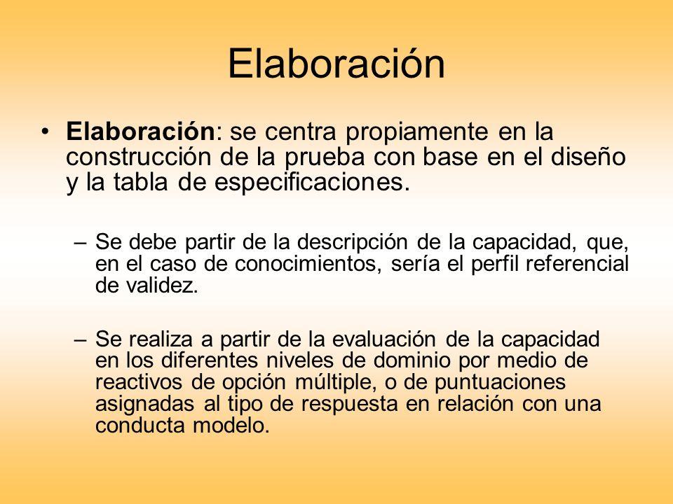 Elaboración Elaboración: se centra propiamente en la construcción de la prueba con base en el diseño y la tabla de especificaciones.