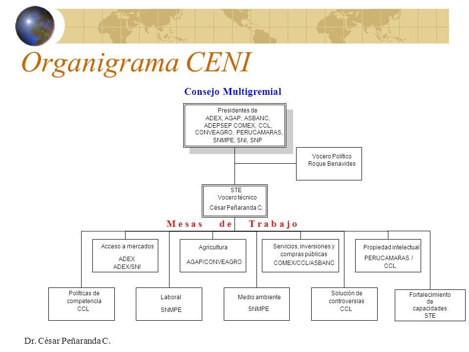 Organigrama CENI Consejo Multigremial M e s a s d e T r a b a j o