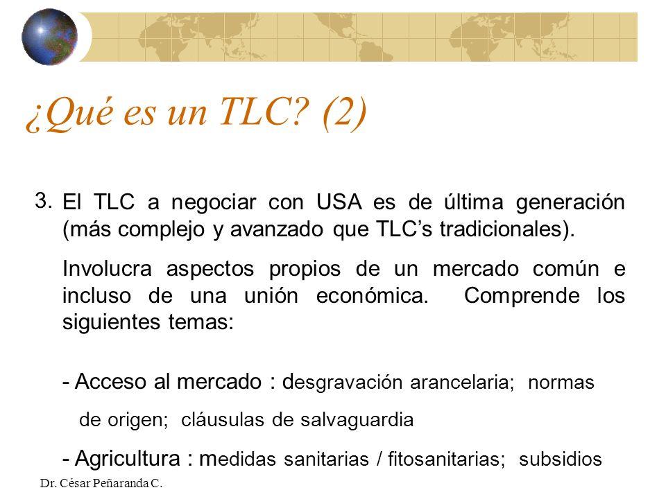 ¿Qué es un TLC (2) 3. El TLC a negociar con USA es de última generación (más complejo y avanzado que TLC's tradicionales).