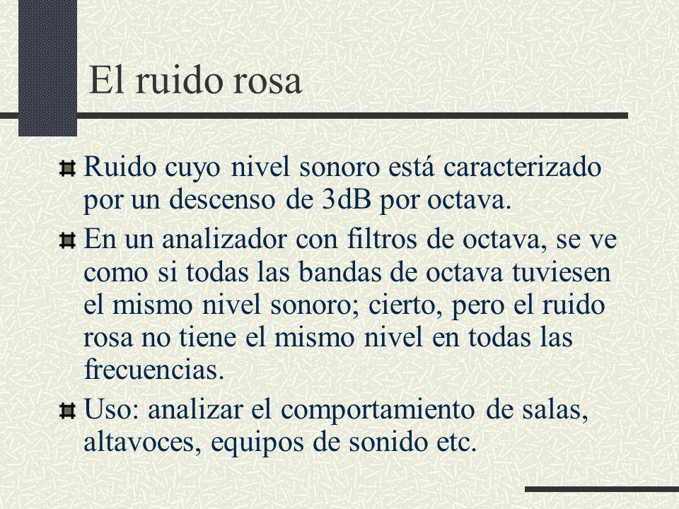 El ruido rosa Ruido cuyo nivel sonoro está caracterizado por un descenso de 3dB por octava.