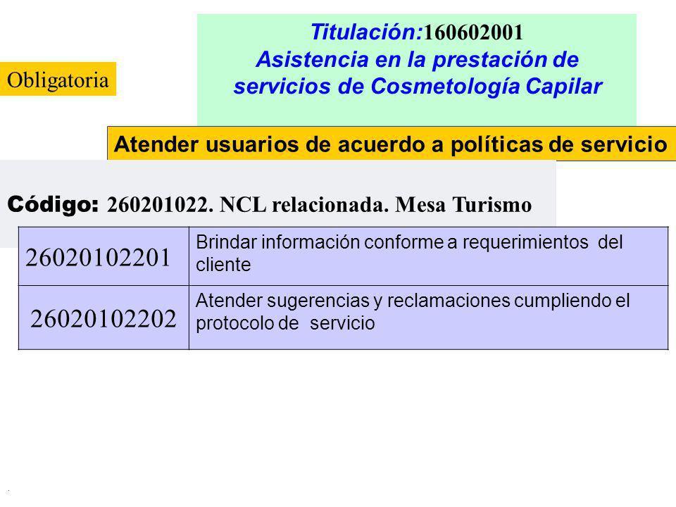 Titulación:160602001 Asistencia en la prestación de servicios de Cosmetología Capilar. Obligatoria.