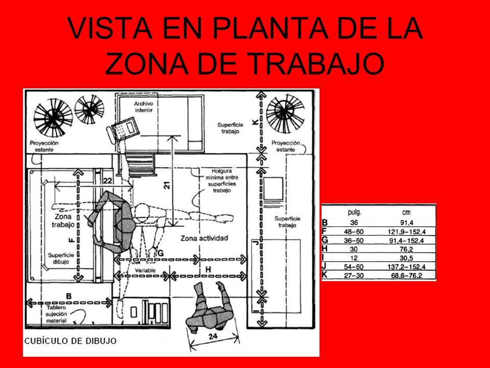 VISTA EN PLANTA DE LA ZONA DE TRABAJO