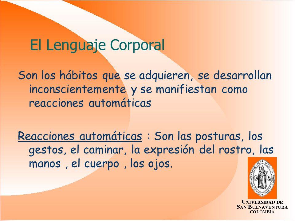 El Lenguaje Corporal Son los hábitos que se adquieren, se desarrollan inconscientemente y se manifiestan como reacciones automáticas.