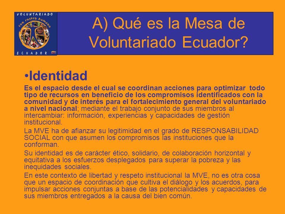 A) Qué es la Mesa de Voluntariado Ecuador